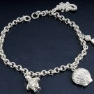 Silver Bracelet W/ Charms - Shell, Penguin & Whale 925 Solid Sterling Silver Cle