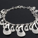 Silver Italian Bracelet W/ Charms 925 Solid Sterling Silver   7 mm Inch