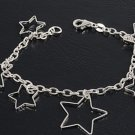 Silver Italian Bracelet W/ Charms - Stars 925 Solid Sterling Silver   7 mm Inch