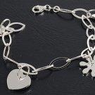 Silver Italian Bracelet W/ Charm - Heart & Star 925 Solid Sterling Silver   7 mm