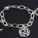 Silver Italian Bracelet W/ Charm - Moon 925 Solid Sterling Silver   7 mm Inch