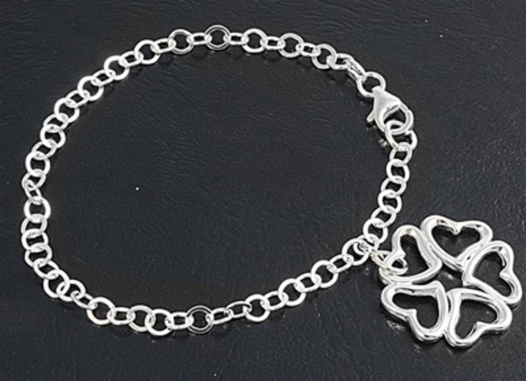Silver Italian Bracelet W/ Charm - Heart 925 Solid Sterling Silver   7 inches