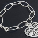 Silver Italian Bracelet W/ Charm - Heart 925 Solid Sterling Silver   7.5 inches