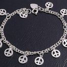 """Silver Braceley W/Peace Sign 925 Solid Sterling Silver   7""""adjust to 7.5"""" Inch"""
