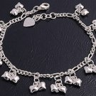 """Silver Bracelet W/ Charms 925 Solid Sterling Silver   7""""adjust to 8"""" Inch"""