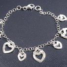 Silver Italian Bracelet W/ Charm - Heart 925 Solid Sterling Silver   7 inches In