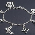 "Silver Bracelet W/Charms 925 Solid Sterling Silver   7.5"" Inch"