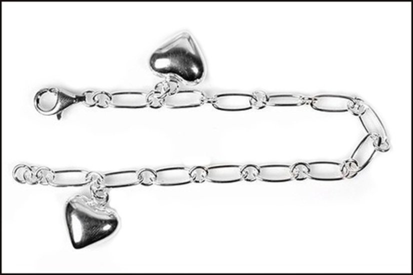 """Silver Bracelet W/ Charms - Heart 925 Solid Sterling Silver   7.5"""" Inch"""