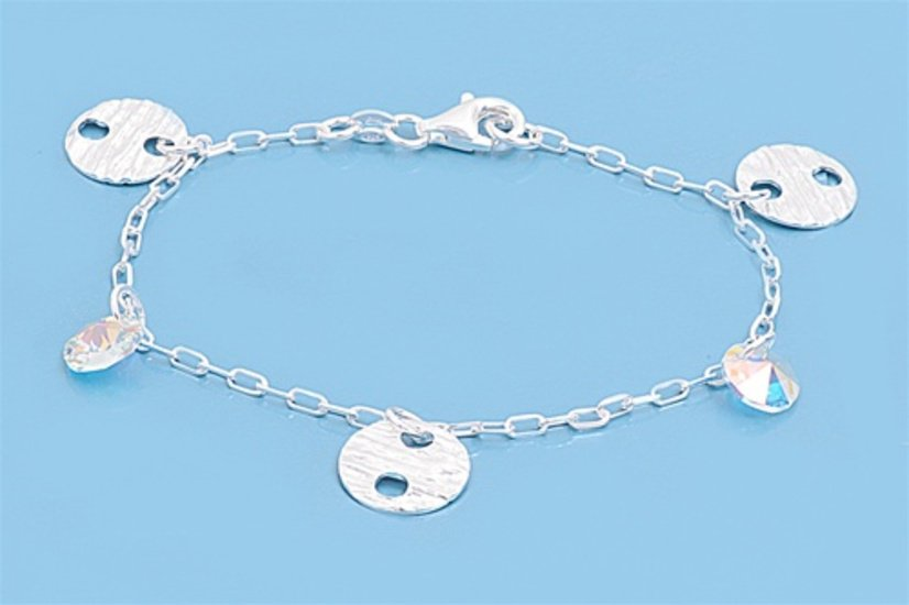 Silver Italian Bracelet W/ Charms 925 Solid Sterling Silver   7 inches Inch
