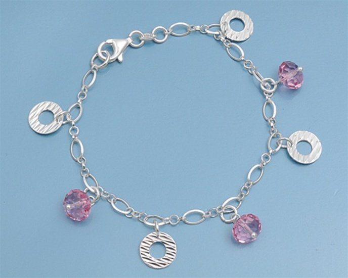 Silver Italian Bracelet W/ Charm 925 Solid Sterling Silver Pink Crystal  7 inche