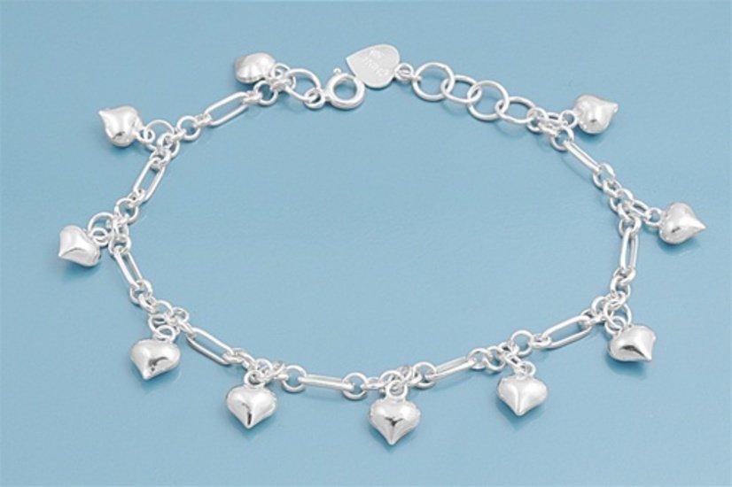 "Silver Bracelet W/ Charm - Heart & Bells 925 Solid Sterling Silver   7"" adjust t"