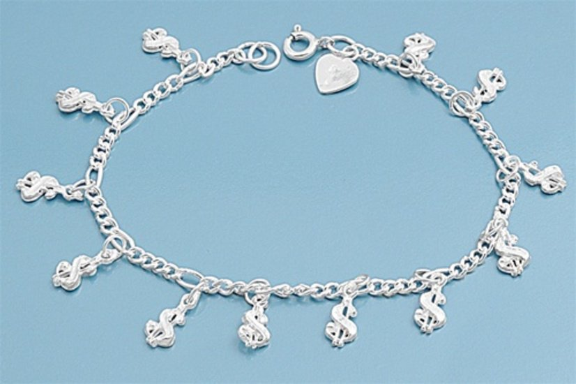"Silver Bracelet W/ Charm - Dollar Sign 925 Solid Sterling Silver   7"" adjust to"