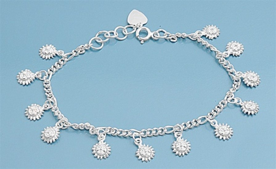 """Silver Bracelet W/ Charm - Sun 925 Solid Sterling Silver   7"""" adjust to 7.5"""" Inc"""