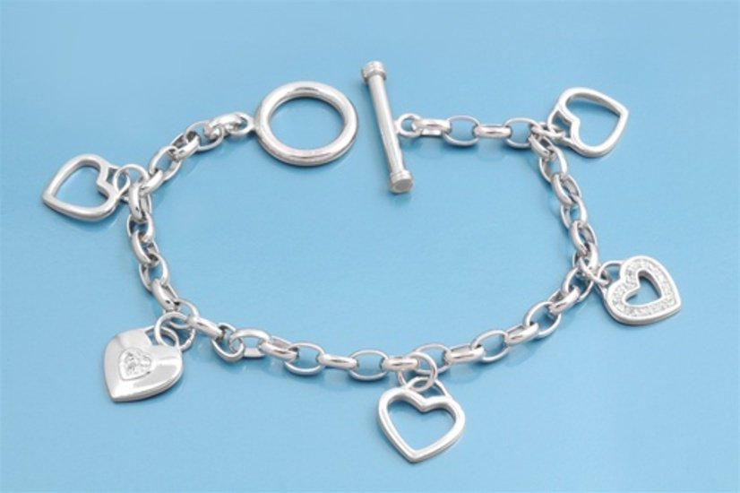 Silver Bracelet W/ Charms - Heart 925 Solid Sterling Silver   7.5 in Inch