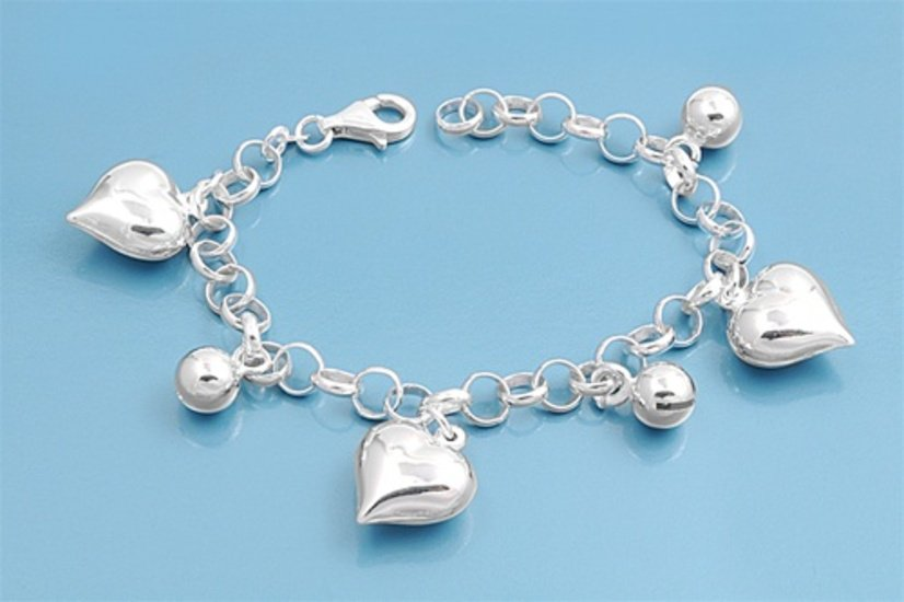 Silver Bracelet W/ Charms - Heart & Bell 925 Solid Sterling Silver   7.5 in Inch