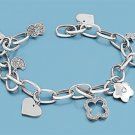 Silver Bracelet W/ Charms 925 Solid Sterling Silver   8 in Inch