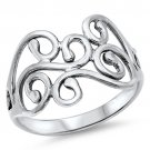 PLAIN SILVER OPEN TWIRLS RING Solid Sterling Silver Band Size 6-10 925 Solid Ste