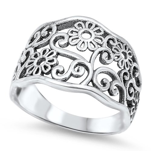 10MM PLAIN SILVER FLOWER FILIGREE BAND Sterling Silver Ring Size 6-10 925 Solid