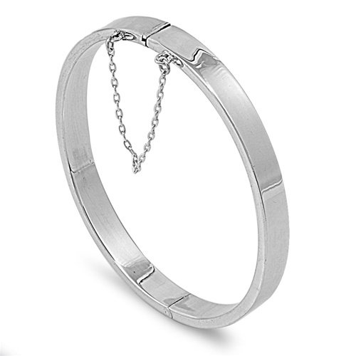 7mm Polished Rectangle Tube Shape Bangle Bracelet with Safety Chain Sterling Sil