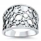 CIRCLES & BUBBLES SILVER WIDE BAND RING Solid Sterling Silver Size 6-10 925 Soli