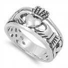 Silver Ring - Celtic Claddagh 925 Solid Sterling Silver Band  12 mm