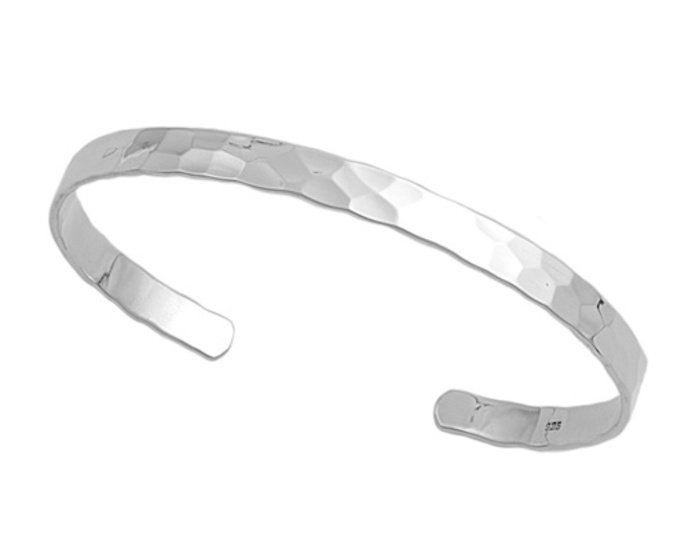 5mm Plain Faceted Silver Cuff Bracelet Sterling Silver