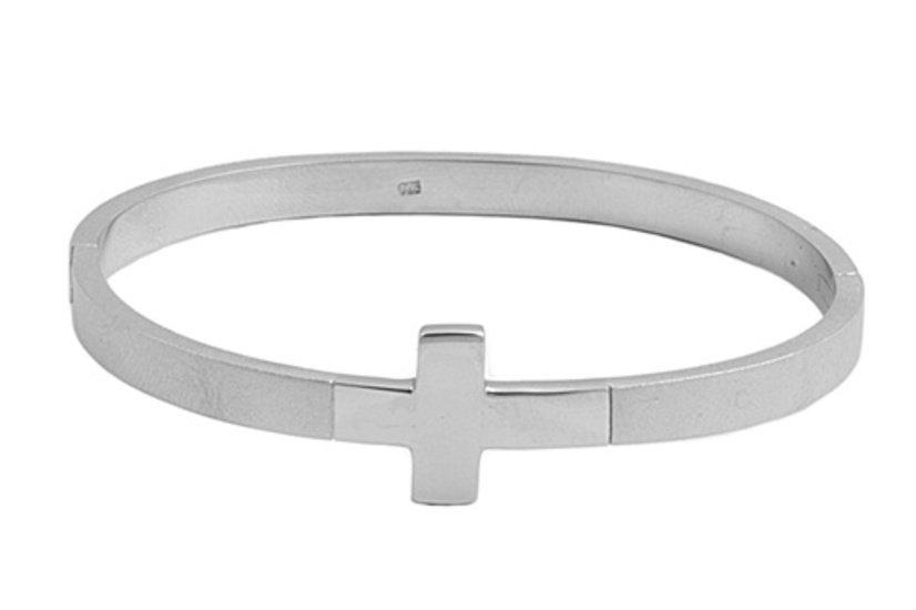 2mm Religious Cross Design Plain Silver Bangle Bracelet Sterling Silver