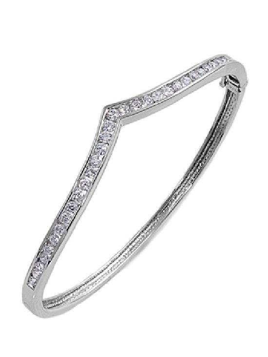 Channel Set Brilliant Cut CZ Silver Bangle Bracelet Sterling Silver