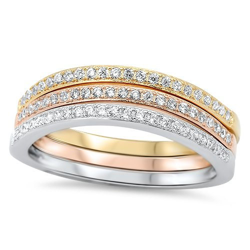 PAVE TRIPLE BAND STACKABLE RING Rose Yellow Gold Solid Sterling Silver Sterling