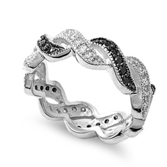 Silver Pave Braided Black Cubic Zirconia Eternity Ring Sterling Silver Bridal Ri