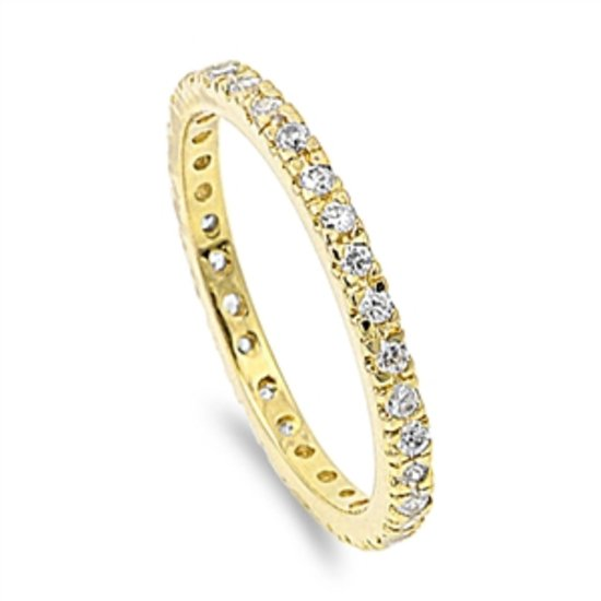 Yellow Gold CZ Stackable Eternity Band Sterling Silver Anniversary Ring 2MM Ster