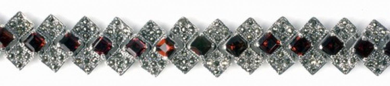 Vintage Inspired Princess Cut Garnet Silver Marcasite Bracelet Sterling Silver