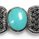 Vintage Inspired Turquoise and Black CZ Silver Marcasite Bracelet Sterling Silve