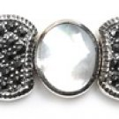 Vintage Inspired Mother of Pearl and Black CZ Silver Marcasite Bracelet Sterling