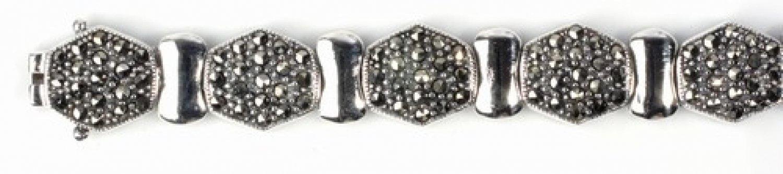 Vintage Inspired Silver Marcasite Tennis Bracelet Sterling Silver