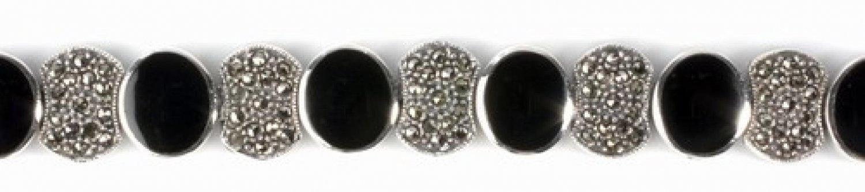 Vintage Brilliant Cut Black CZ Silver Marcasite Bracelet Sterling Silver