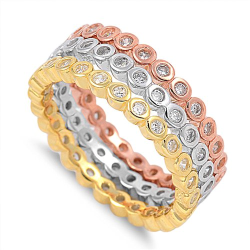 BEZEL SET TRIPLE BAND ETERNITY RING Rose Yellow Gold Solid Sterling Silver Sterl