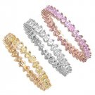 Three Piece Brilliant Cut Multicolor Cubic Zirconia Eternity Ring Sterling Silve