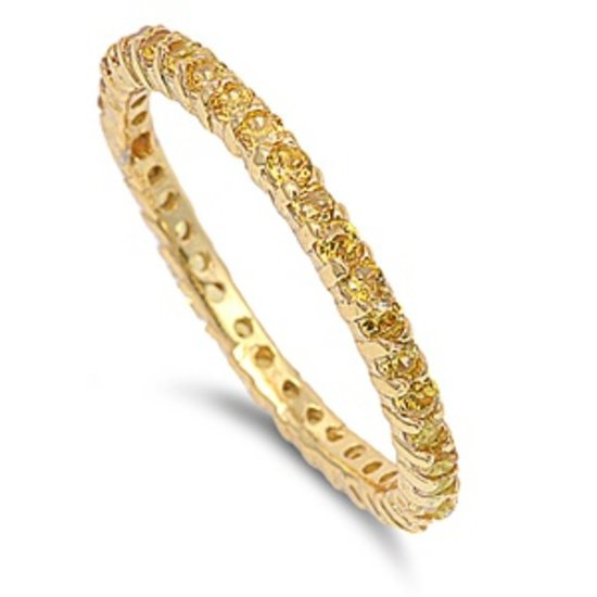 STACKABLE YELLOW GOLD YELLOW CZ ETERNITY BAND .925 Sterling Silver Ring 2MM Ster