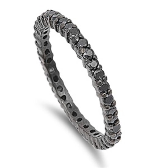 STACKABLE BLACK PLATED CZ ETERNITY BAND .925 Sterling Silver Ring 2MM Sterling S