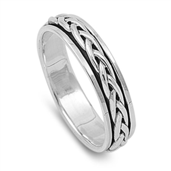 Silver Ring - Spinner Ring 925 Solid Sterling Silver Band  5 mm (0.22 inch)