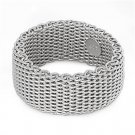 925 Solid Sterling Silver Ring - Mesh Design Band
