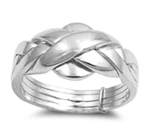 925 Solid Sterling Silver Ring - Puzzle Band 11 mm