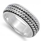 925 Solid Sterling Silver Ring - Spinner Ring Band 7 mm (0.30 inch)