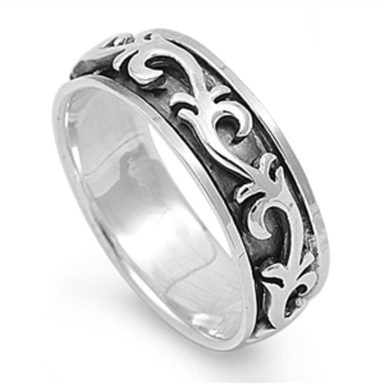 925 Solid Sterling Silver Ring - Spinner Ring Band 7 mm (0.31 inch)