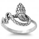 925 Solid Sterling Silver Ring - Snake Band 14 mm