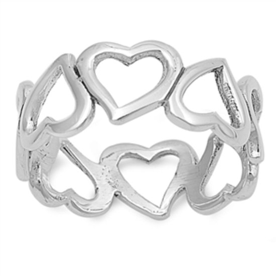 925 Solid Sterling Silver Ring - Heart Band Band 8 mm