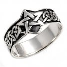 925 Solid Sterling FIVE POINT STAR PENTAGRAM BAND 925 Solid Sterling Silver Ring