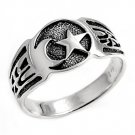 925 Solid Sterling Silver Ring - Moon And Star Band 12mm