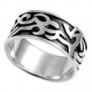 925 Solid Sterling Silver Ring - Tribal Design Band